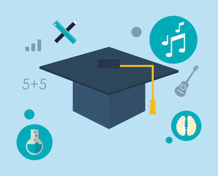 academia: flat design graduation cap with education and academia related icons image vector illustration
