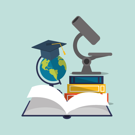leccion: flat design  earth globe with education and academia related icons image vector illustration