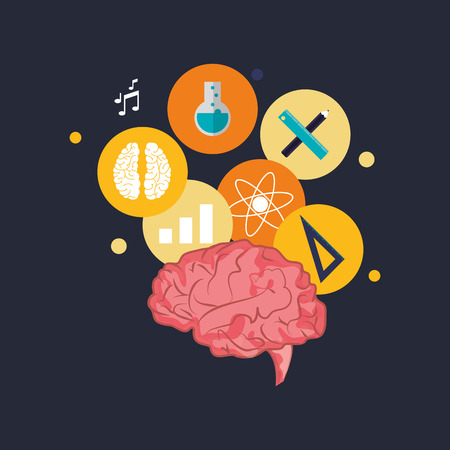 academia: flat design human brain with  education and academia related icons image vector illustration Illustration