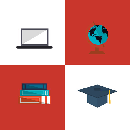academia: flat design computer with education and academia related icons image vector illustration