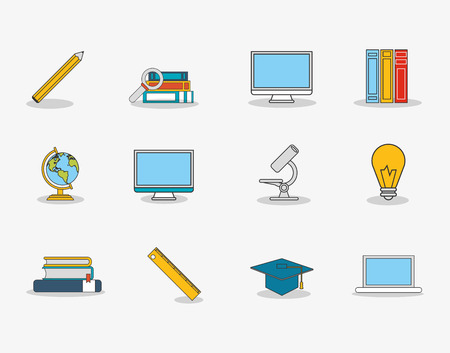 academia: flat design lightbulb with education and academia related icons image vector illustration