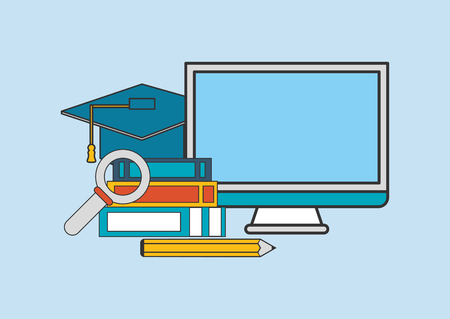 learning computer: flat design computer with education and academia related icons image vector illustration