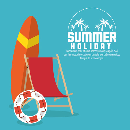 surf baord chair and float icon. Summer holiday and vacations theme. Colorful design. Vector illustration Illustration