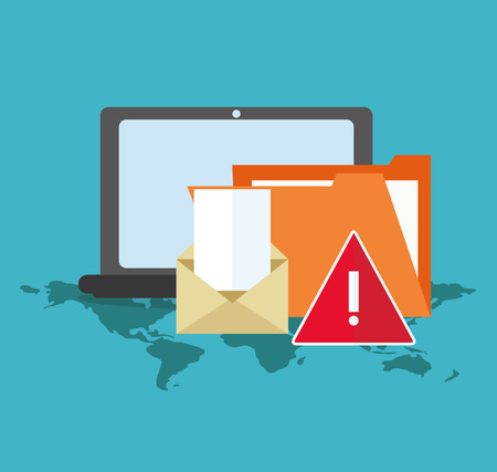 fatal: Laptop file and envelope icon. Cyber security system and media theme. Colorful design. Vector illustration