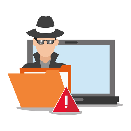 detected: hacker file and laptop icon. Cyber security system and media theme. Colorful design. Vector illustration Illustration