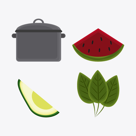 cooking pot: cooking pot avocado leaves and watermelon icon. Vegetarian cuisine organic and healthy food theme. Colorful design. Vector illustration Illustration