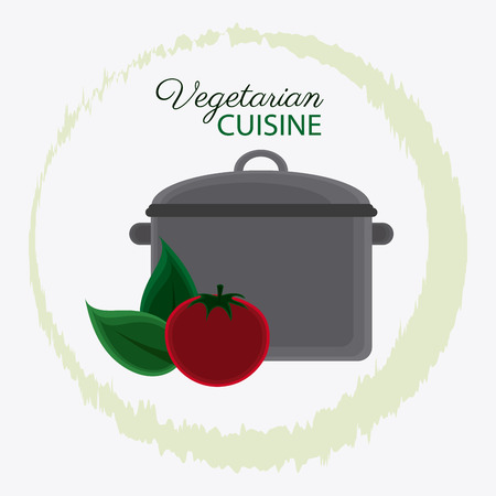 cooking pot: Cooking pot tomato and leaf icon. Vegetarian cuisine organic and healthy food theme. Colorful design. Vector illustration