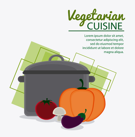 cooking pot: Cooking pot and vegetables icon. Vegetarian cuisine organic and healthy food theme. Colorful design. Vector illustration Illustration