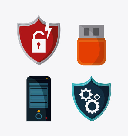 fatal: Shield padlock usb and gears icon. Data protection cyber security system and media theme. Colorful design. Vector illustration