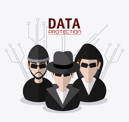 fatal: Hacker thief icon. Data protection cyber security system and media theme. Colorful design. Vector illustration