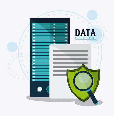 fatal: Document shield and padlock icon. Data protection cyber security system and media theme. Colorful design. Vector illustration Illustration
