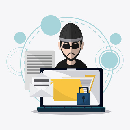 Laptop and hacker icon. Data protection cyber security system and media theme. Colorful design. Vector illustration Illustration