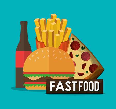 coke: Pizza hamburger coke and fries icon. fast food menu american and restaurant theme. Colorful design. Vector illustration