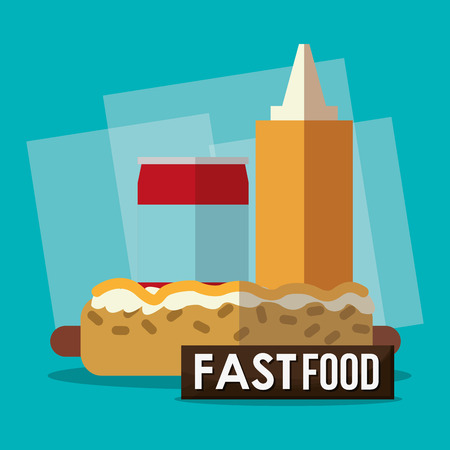 consume: Hot dog and soda  icon. fast food menu american and restaurant theme. Colorful design. Vector illustration