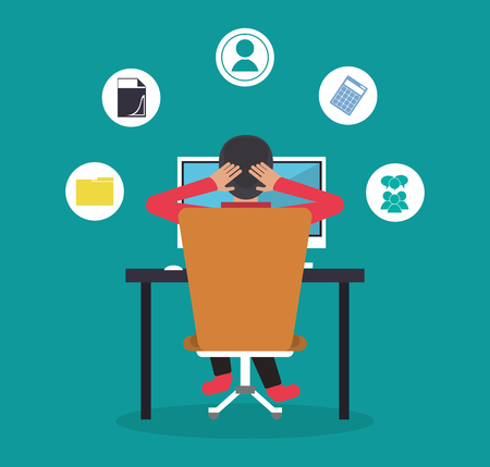 online business: Man with computer icon. Freelance work and technology theme. Colorful design. Vector illustration