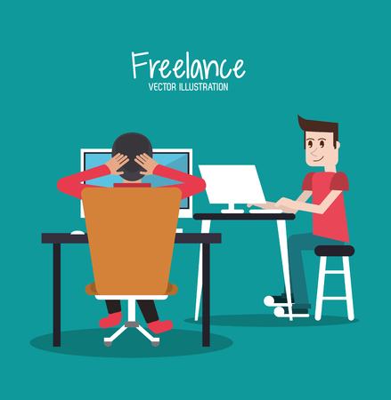 freelance: Men with laptop and computer icon. Freelance work and technology theme. Colorful design. Vector illustration
