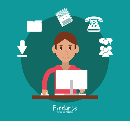 computer work: Man with computer icon. Freelance work and technology theme. Colorful design. Vector illustration
