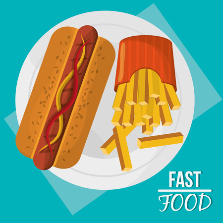 Hot dog and french fries icon. fast food menu american and restaurant theme. Colorful design. Vector illustration