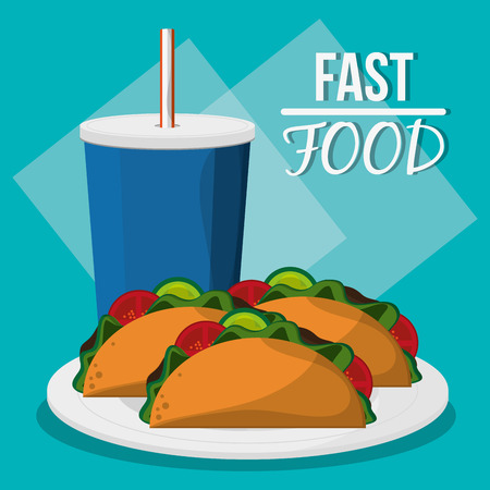 consume: Soda and taco icon. fast food menu american and restaurant theme. Colorful design. Vector illustration