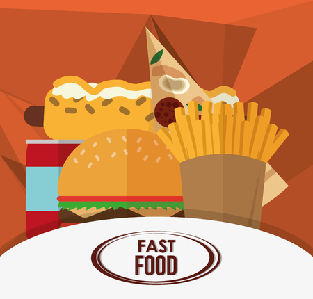Hamburger hot dog pizza french fries and soda icon. fast food menu american and restaurant theme. Colorful design. Vector illustration