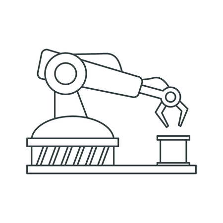 reconstruction: Robot arm icon. Under construction and industry theme. Isolated design. Vector illustration Illustration