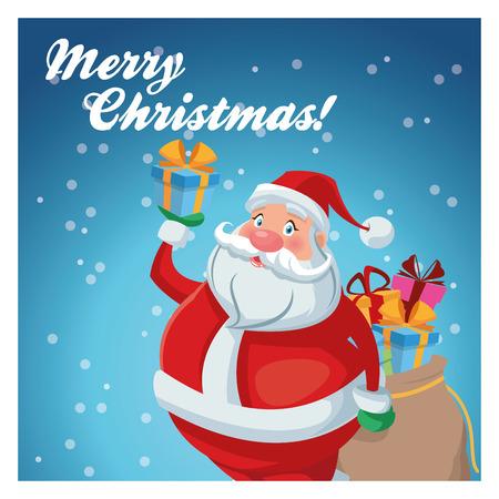 gift bag: Santa cartoon with gift bag icon. Merry Christmas season and decoration theme. Colorful design. Vector illustration