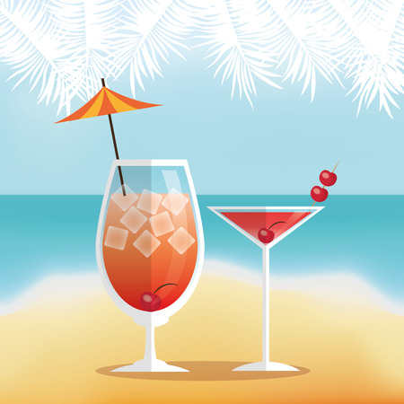 Cocktail icon. Summer party drinks and beverage theme. Colorful design. Beach background. Vector illustration