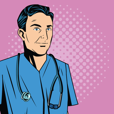 pointed: Doctor cartoon with uniform. Medical care pop art comic and retro theme. Colorful and pointed design. Vector illustration