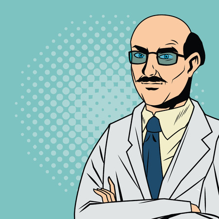 Doctor cartoon with uniform. Medical care pop art comic and retro theme. Colorful and pointed design. Vector illustration