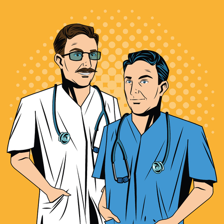 pointed to: Doctor cartoon with uniform. Medical care pop art comic and retro theme. Colorful and pointed design. Vector illustration