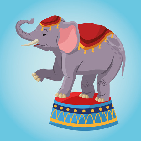 performers: Elephant cartoon icon. Circus carnival and festival theme. Colorful  design. Vector illustration