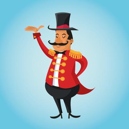 icono de dibujos animados presentador. carnaval circo y el tema del festival. El diseño colorido. ilustración vectorial
