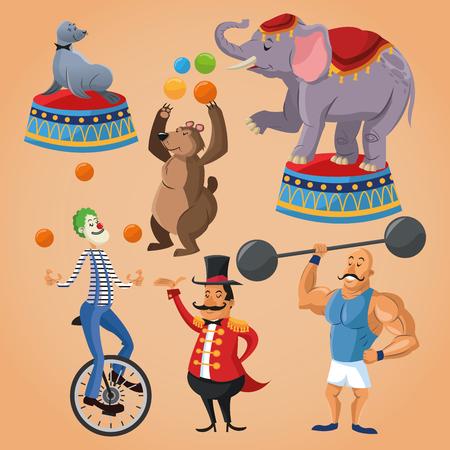 presenter: Elephant seal bear clown presenter and man cartoon icon. Circus carnival and festival theme. Colorful  design. Vector illustration