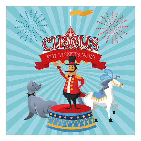 Horse presenter and seal cartoon icon. Circus carnival and festival theme. Colorful design. Vector illustration