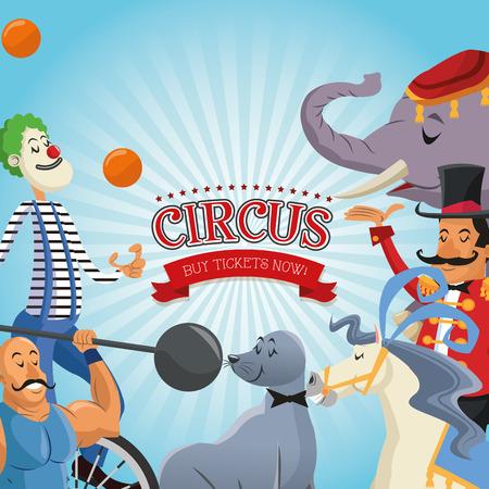 presenter: Elephant seal horse clown presenter and man cartoon icon. Circus carnival and festival theme. Colorful  design. Vector illustration