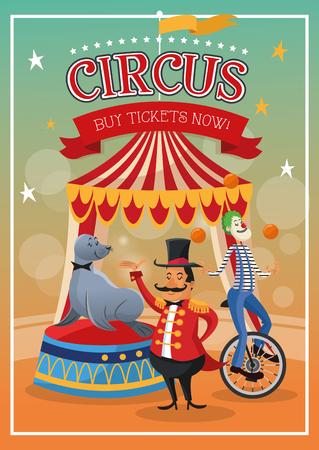 presenter: seal clown and presenter cartoon icon. Circus carnival and festival theme. Colorful  design. Vector illustration Illustration