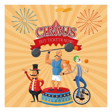 presenter: Strength man presenter and clown cartoon icon. Circus carnival and festival theme. Colorful  design. Vector illustration