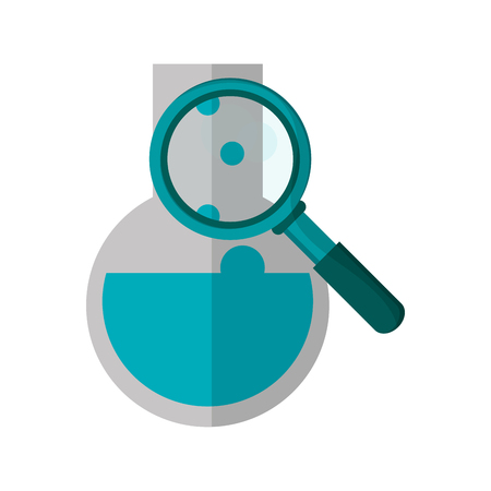 flat design round bottom chemistry flask and magnifying glass icon vector illustration