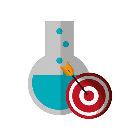 flat design round bottom chemistry flask and bullseye  icon vector illustration