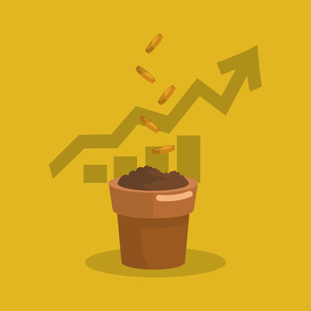 flat design graph chart with plant pot filled with soil business related icons image vector illustration Illustration