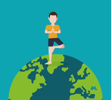 flat design yogi standing on planet earth image vector illustration Illustration