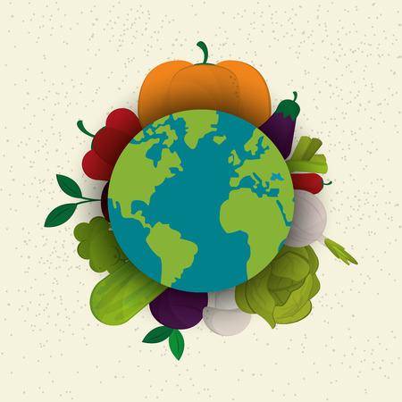 healthy food ingredients with earth globe icons image  vector illustration 版權商用圖片 - 63080357