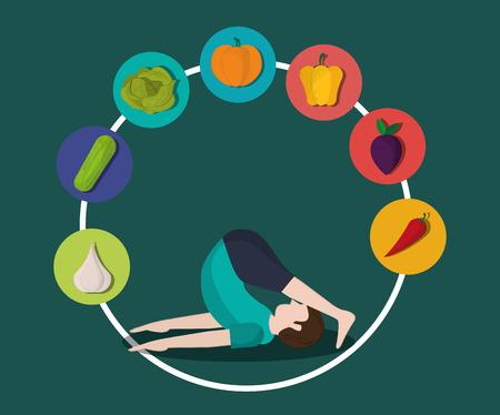 yogi: healthy food ingredients and  yogi  icons image  vector illustration