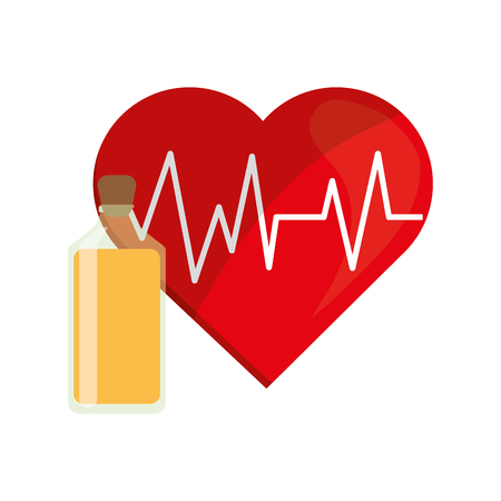 juice bottle: flat design heart cardiogram and juice bottle icon vector illustration