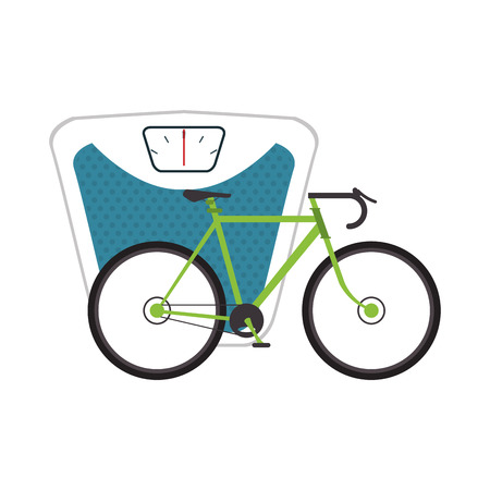 low scale: flat design weight scale and bike  icon vector illustration