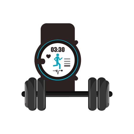 metrics: flat design heart rate wrist monitor and dumbbell  icon vector illustration Illustration