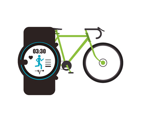 heart monitor: flat design bike and  heart rate wrist monitor  icon vector illustration