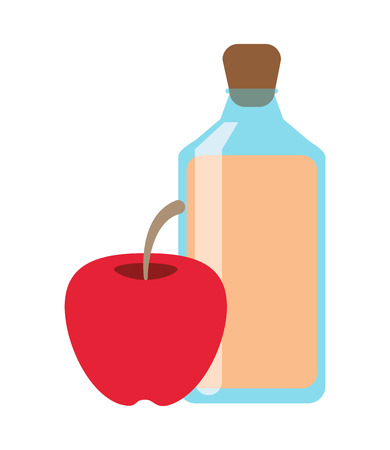 juice bottle: flat design juice bottle and apple  icon vector illustration Illustration