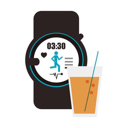 metrics: flat design heart rate wrist monitor and  glass beverage icon vector illustration