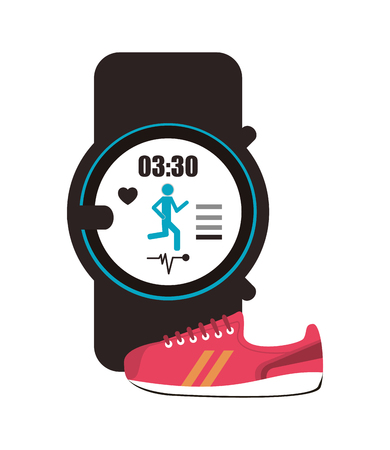 heart monitor: flat design heart rate wrist monitor and sneaker  icon vector illustration